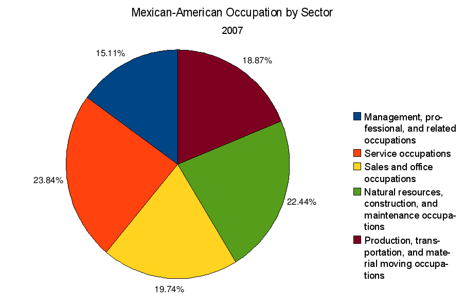 Mexican American occupation by sector 2007