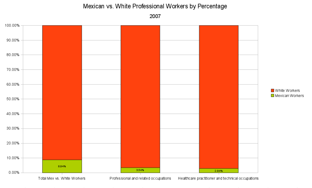 Mexican vs White Professional Workers by Percentage 2007
